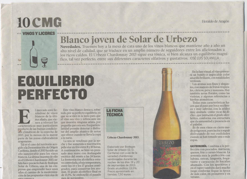 Heraldo de Aragón - Urbezo Chardonnay 2013