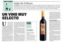 Heraldo de Aragón - Urbezo Vendimia Seleccionada 2010